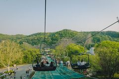 The cable cars at Everland Theme Park in Yongin, South Korea. stock photography