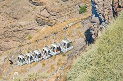 Cable cars at Fira Santorini. Stock Images