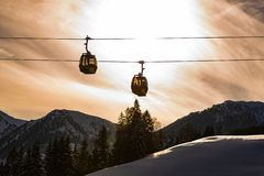 Two cable cars, gondola of the Planai West in Planai & Hochwurzen. Heart of the Schladming-Dachstein region, Styria, Austria, royalty free stock photo