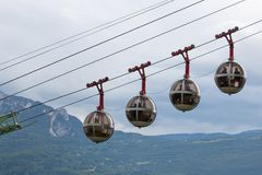 Cable cars in Grenoble, France. Iconic cable cars to go to Bastille in Grenoble, France Stock Photography