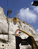 Cable Cars at Grotto. Cable cars at Rosh Hanikra Grottos, Israel Stock Photo
