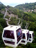 Cable cars, Heights of Abraham, Derbyshire. Three of the twelve cable cars with Riber Castle in the background at the Heights of Abraham, Matlock Bath Stock Photo