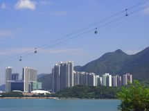 Cable Cars in Hong Kong City Stock Images