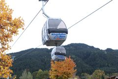 Cable cars in Kitzbuhel, Austria. Cable cars at the mountains, winter time Royalty Free Stock Photo