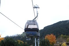 Cable cars in Kitzbuhel, Austria. Cable cars at the mountains, winter time Royalty Free Stock Photography