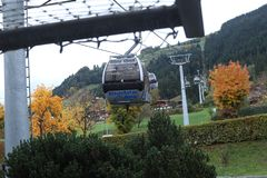 Cable cars in Kitzbuhel, Austria. Cable cars at the mountains, winter time Royalty Free Stock Image