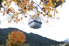 Cable cars in Kitzbuhel, Austria. Cable cars at the mountains, winter time Stock Images