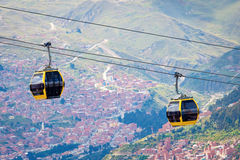 Cable cars  in La Paz.  Bolivia Royalty Free Stock Photography