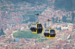 Cable cars in  La Paz.Bolivia Royalty Free Stock Photography