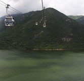 Cable cars at lantau island hong kong Royalty Free Stock Image