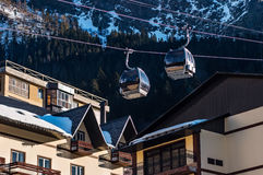 Cable cars lift at ski resort Stock Images