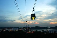 Cable cars at mount faber Royalty Free Stock Photo
