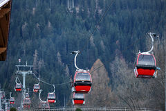 Cable cars. At the mountains, winter time Stock Images