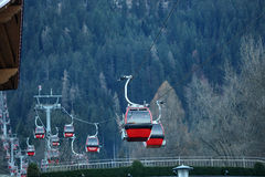 Cable cars. At the mountains, winter time Stock Image