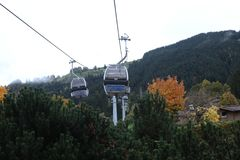Cable cars. At the mountains, winter time Stock Photo