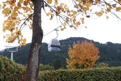 Cable cars. At the mountains, winter time Royalty Free Stock Images