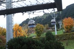 Cable cars. At the mountains, winter time Royalty Free Stock Photography