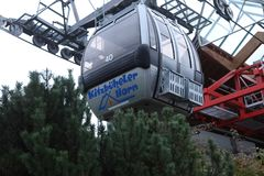 Cable cars in Kitzbuhel, Austria. Cable cars at the mountains, winter time Royalty Free Stock Images