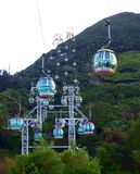 Cable Cars in Ocean Park. In Hong Kong China Stock Photo