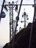 Cable cars. In Ocean Park Hong Kong during sunset Royalty Free Stock Images