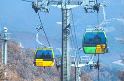 Cable cars, Odaesan National Park Royalty Free Stock Images