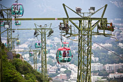 Cable cars over tropical trees in Hong Kong Royalty Free Stock Photos