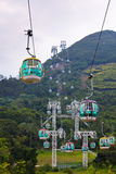 Cable cars over tropical trees in Hong Kong Royalty Free Stock Image