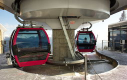 Cable cars during rotation Stock Photo