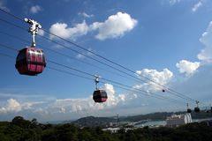 Cable cars in singapore. A view of cable cars and the sea in Mount Faber Singapore Royalty Free Stock Photo