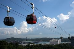 Cable cars and sky stock image