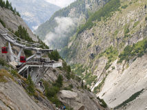 Cable cars station at Mer de glace Royalty Free Stock Images