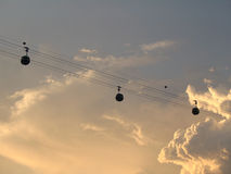 Cable Cars (Sunset). 3 Cable cars at sunset Royalty Free Stock Images