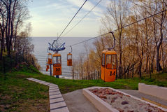 Cable cars. In Svetlogorsk town Royalty Free Stock Photography