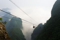 Cable Cars in Tianmen Mountain National Park, Zhangjiajie, China Stock Photos