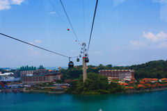 The cable cars. Use transporation in resort world sentosa singapore Stock Photography