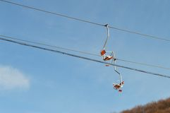 Cable cars during winter sports Stock Images