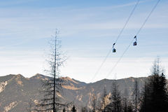 Cable cars of the Zugspitze in the Bavarian Alps Royalty Free Stock Photo
