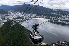 A cable cart begins its decent from Sugarloaf Mountain in Rio de Janeiro, Brazil. Stock Photography