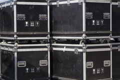 Cable case and flight cases to transport safely music equipment Stock Image