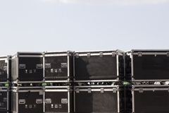 Cable case and flight cases to transport savely music equipment Stock Photography