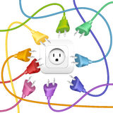 Cable Clutter Plugs Socket Colors Stock Images