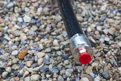 Cable coaxil con el conector Imagen de archivo libre de regalías