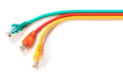 Cable colorido RJ45 de la telecomunicación del lan Fotos de archivo