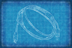 Cable with connectors - Blue Print Stock Image