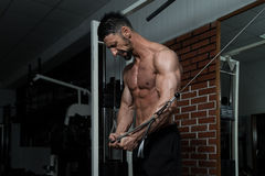 Cable Crossover Chest Workout. Bodybuilder Is Working On His Chest With Cable Crossover In A Dark Gym royalty free stock photo