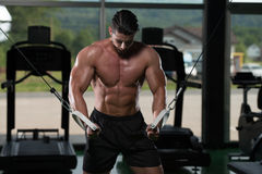 Cable Crossover Chest Workout. Bodybuilder Is Working On His Chest With Cable Crossover In Gym royalty free stock photography