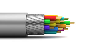 Cable. 3d illustration of cable inside structure, over white background Stock Image