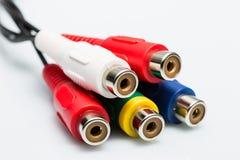 Cable de audio multicolor Fotografía de archivo