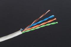 Cable de Ethernet que muestra pares trenzados Imagen de archivo
