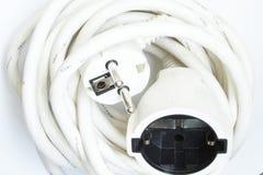 Cable de extensión blanco Fotos de archivo libres de regalías